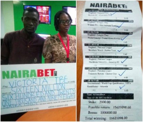 woman wins 16million naira on NairaBET