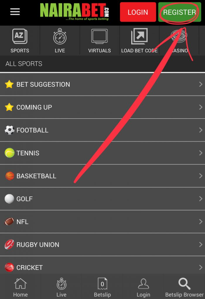 How to Open an Account on NairaBET - Welcome To The Official
