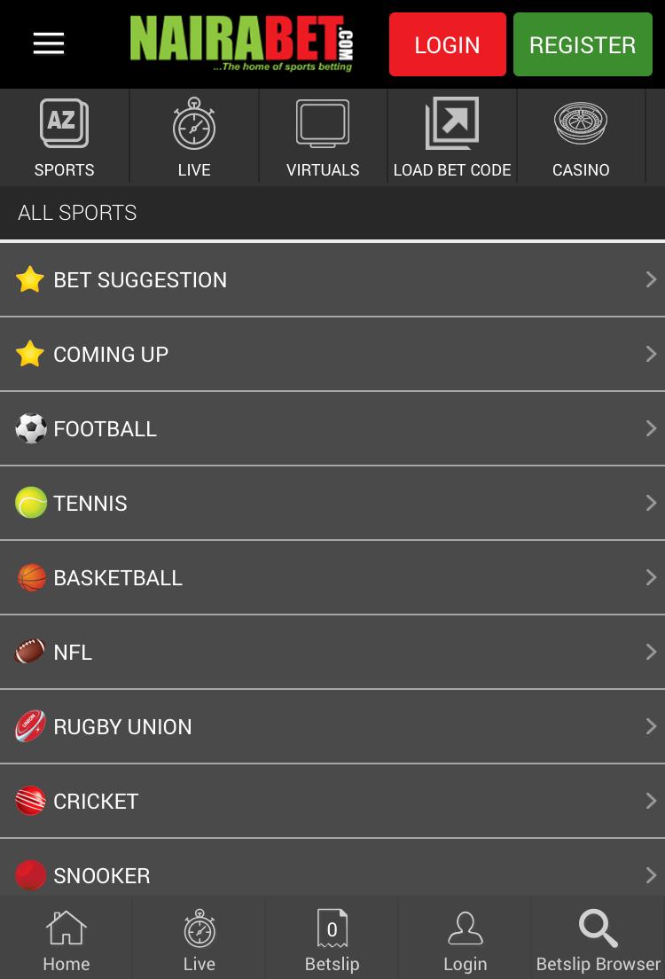 nairabet mobile homepage