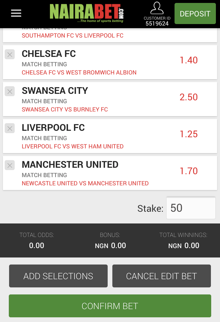 NairaBET Now Allows You to Edit Your Bets Even After Placing Them