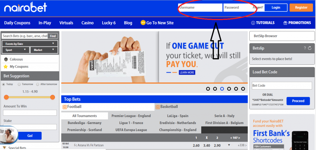 NairaBET Homepage Log In